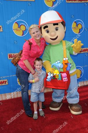 Alison Sweeney, son Benjamin Edward Sanov and Handy Manny
