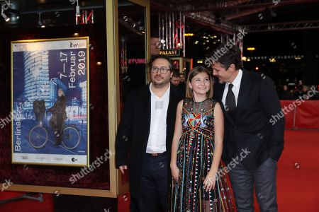 Teddy Schwarzman (L), US director Casey Affleck (R) and actress Anna Pniowsky (C) arrive for the premiere of 'Light of My Life' during the 69th annual Berlin Film Festival, in Berlin, Germany, 08 February 2019. The movie is presented in the Panorama section at the Berlinale that runs from 07 to 17 February.