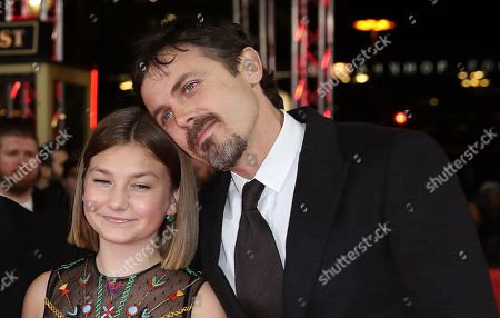 Stock Picture of Teddy Schwarzman (L), US director Casey Affleck (R) and actress Anna Pniowsky (C) arrive for the premiere of 'Light of My Life' during the 69th annual Berlin Film Festival, in Berlin, Germany, 08 February 2019. The movie is presented in the Panorama section at the Berlinale that runs from 07 to 17 February.