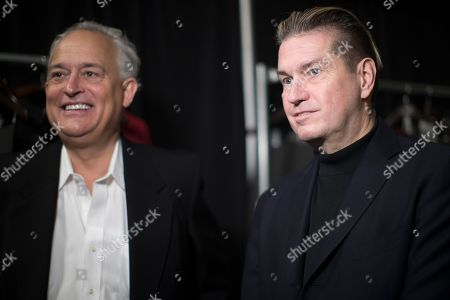 Stock Picture of Mark Badgley, James Mischka. Designers Mark Badgley, right, and James Mischka backstage before their Badgley Mischka collection is modeled during New York Fashion Week