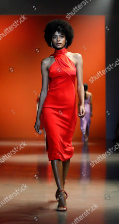 A model presents a creation by US designer Carly Cushnie for her label Cushnie during the New York Fashion Week, in New York, New York, 08 February 2019. The Fall-Winter 2019/20 collections are presented from 06 to 13 February.