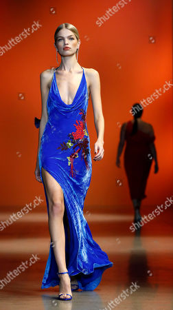 Stock Image of Models present creations by US designer Carly Cushnie for her label Cushnie during the New York Fashion Week, in New York, New York, 08 February 2019. The Fall-Winter 2019/20 collections are presented from 06 to 13 February.