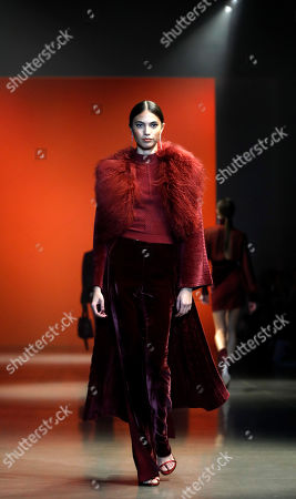 Stock Picture of A model presents a creation by US designer Carly Cushnie for her label Cushnie during the New York Fashion Week, in New York, New York, 08 February 2019. The Fall-Winter 2019/20 collections are presented from 06 to 13 February.