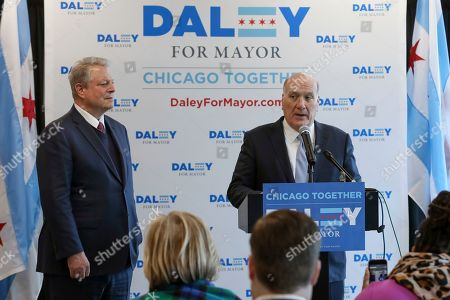 Al Gore, Bill Daley. Bill Daley speaks as former Vice President Al Gore, left, endorses Daley for Mayor of Chicago during a news conference, in Chicago