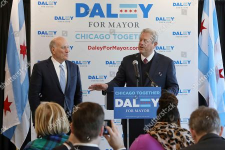 Al Gore, Bill Daley. Former Vice President Al Gore, right, speaks as he endorses Bill Daley for Mayor of Chicago during a news conference, in Chicago
