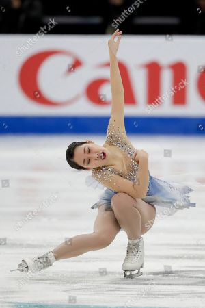 Bronze medal winner, Mai Mihara, of Japan, performs during the women's free skate competition at the Four Continents Figure Skating Championships, in Anaheim, Calif