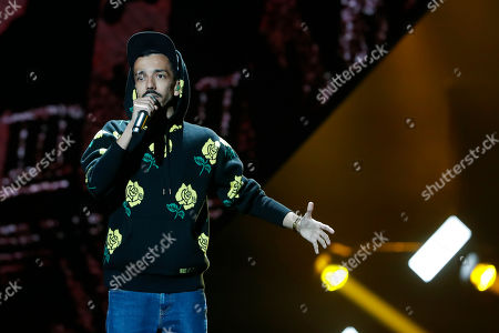 French singer Florian Ordonez, member of the rap band Bigflo & Oli performs during the 34th Victoires de la Musique, the annual French music awards ceremony, in Paris