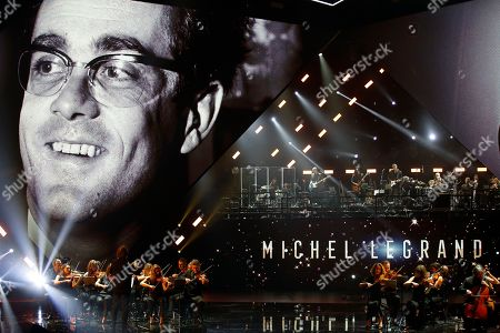 A tribute to late French music composer Michel Legrand during the 34th Victoires de la Musique, the annual French music awards ceremony, in Paris