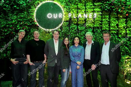 Cinematographer Sophie Darlington, Cinematographer Jamie McPherson, Producer Alastair Fothergill, Lisa Nishimura - NetflixÕs VP of original documentary and comedy, Moderator Lana Condor, Producer Keith Scholey and Mark Wright - Scientific and Conservation Advisor, WWF at a private press screening for Netflix's upcoming nature doc series Our Planet, launching globally on April 5th.