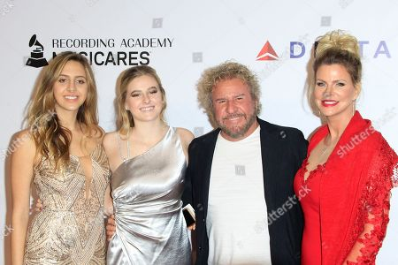 Samantha Hagar, Kama Hagar, Sammy Hagar, Kari Karte arrive for the 2019 MusiCares Person of the Year Tribute in Los Angeles, California, USA 08 February 2019. MusiCares Person of the Year Tibute honored US musician Dolly Parton for her extraordinary creative accomplishments and significant charitable work.