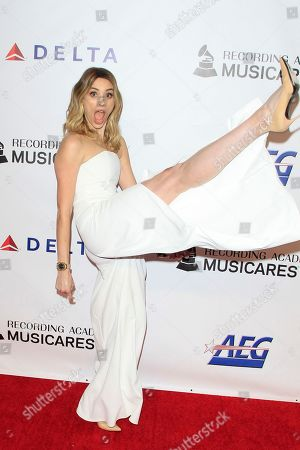 Arielle Vandenberg arrives for the 2019 MusiCares Person of the Year Tribute in Los Angeles, California, USA 08 February 2019. MusiCares Person of the Year Tibute honored US musician Dolly Parton for her extraordinary creative accomplishments and significant charitable work.