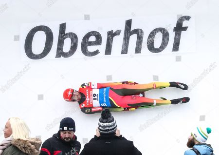 Stock Photo of Chris Rene Eissler of Germany in action during the men's singles competition at the Luge European Championships in Oberhof, Germany, 09 February 2019.