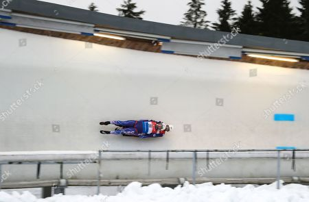 Chris Mazdzer and Jayson Terdiman of the USA in action during the Doubles competition at the Luge European Championships in Oberhof, Germany, 09 February 2019.