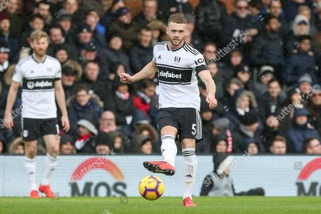 Fulham defender Calum Chambers (5) during the Premier League match between Fulham and Manchester United at Craven Cottage, London