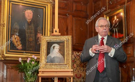 Stock Photo of Dr David Starkey unveils a rare portrait of Mary Queen of Scots as it goes on public display at Hever Castle for the first time.