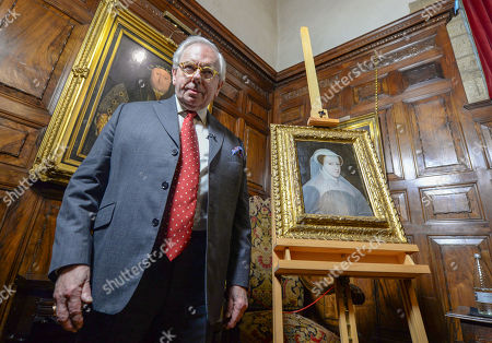 Stock Picture of Dr David Starkey unveils a rare portrait of Mary Queen of Scots as it goes on public display at Hever Castle for the first time.