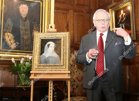 Stock Image of Dr David Starkey unveils a rare portrait of Mary Queen of Scots as it goes on public display at Hever Castle for the first time.