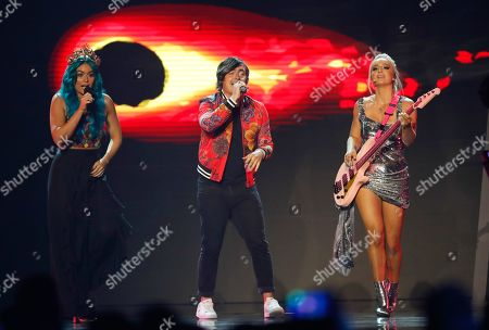 Singers George, Amy, Emma of Sheppard perform 'On My Way' during the 2019 Eurovision - Australia Decides final in Gold Coast, Australia, 09 February 2019. Ten artists performed at the 'Eurovision - Australia Decides' event for their chance to represent Australia at the upcoming Eurovision Song Contest 2019. The final of the ESC will take place in Tel Aviv, Israel on 18 May 2019.