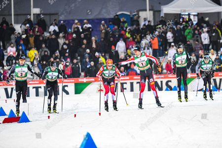 (L-R) Hideaki Nagai of Japan, Go Yamamoto of Japan, Mario Seidl of Austria, Wilhelm Denifl of Austria, Yoshito Watabe of Japan, and Akito Watabe of Japan in action during the Team Sprint competition at the FIS Nordic Combined World Cup in Lahti, Finland, 09 February 2019.