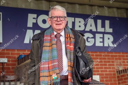 John Motson in the AFC Wimbledon press box during the EFL Sky Bet League 1 match between AFC Wimbledon and Burton Albion at the Cherry Red Records Stadium, Kingston