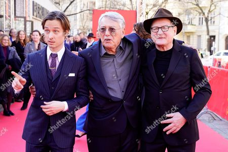 Tom Schilling, German director Heinrich Breloer and German actor Burghart Klaussner arrive for the premiere of 'Brecht' during the 69th annual Berlin Film Festival, in Berlin, Germany, 09 February 2019. The movie is presented out of Competition at the Berlinale that runs from 07 to 17 February.
