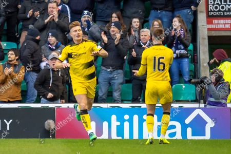 Stock Photo of Euan Murray (#5) of Raith Rovers FC celebrates with Nathan Flanagan (#16) after scoring a goal during the William Hill Scottish Cup match between Hibernian FC and Raith Rovers FC at Easter Road Stadium, Edinburgh