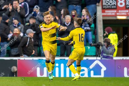 Stock Image of Euan Murray (#5) of Raith Rovers FC celebrates with Nathan Flanagan (#16) after scoring a goal during the William Hill Scottish Cup match between Hibernian FC and Raith Rovers FC at Easter Road Stadium, Edinburgh
