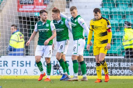 Stock Picture of Vykintas Slivka (#8) of Hibernian FC is congratulated by Jamie Maclaren (#9) and Florian Kamberi (#22) after scoring Hibs second goal during the William Hill Scottish Cup match between Hibernian FC and Raith Rovers FC at Easter Road Stadium, Edinburgh
