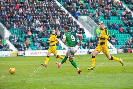 Jamie Maclaren (#9) of Hibernian FC scores Hibs third goal during the William Hill Scottish Cup match between Hibernian FC and Raith Rovers FC at Easter Road Stadium, Edinburgh