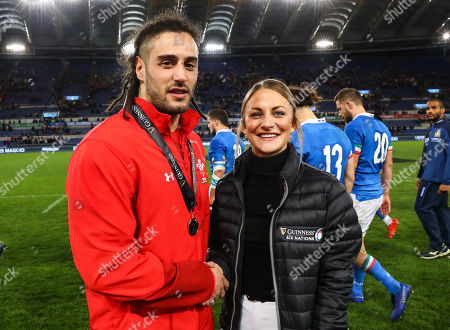 Italy vs Wales. Wales' Josh Navidi is presented with the Man of the Match award by Kate Moore, Guinness