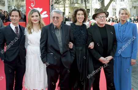From left, actor Tom Schilling, actress Mala Emde, director Heinrich Breloer, actress Adele Neuhauser, actor Burghart Klaussner and actress Trine Dyrholm pose for the media on the red carpet for the film 'Brecht' at the 2019 Berlinale Film Festival in Berlin, Germany