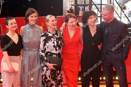 Pia Hierzegger, Austrian actress Mavie Hoerbiger, Austrian actress Valerie Pachner and Austrian director Marie Kreutzer arrive for the premiere of 'The Ground beneath My Feet' (Der Boden unter den FueÃ?en) during the 69th annual Berlin Film Festival, in Berlin, Germany, 09 February 2019. The movie is presented in the Official Competition at the Berlinale that runs from 07 to 17 February.