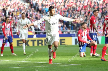 Real Madrid's Carlos Henrique Casimiro (C) celebrates after scoring the 0-1 lead during a Spanish LaLiga soccer match between Atletico Madrid and Real Madrid at the Wanda Metropolitano stadium in Madrid, Spain, 09 February 2019.