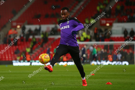 Stoke's Saido Berahino warms up