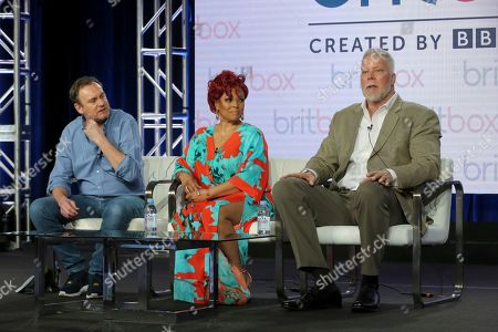 """Philip Glenister, Kim Fields, Kevin Nash. Philip Glenister, from left, Kim Fields and Kevin Nash participate in the """"There She Goes"""" panel during the Britbox presentation at the Television Critics Association Winter Press Tour at The Langham Huntington, in Pasadena, Calif"""