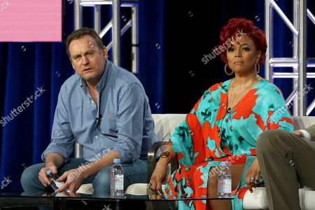 """Philip Glenister, Kim Fields. Philip Glenister, left, and Kim Fields participate in the """"Living the Dream"""" panel during the Britbox presentation at the Television Critics Association Winter Press Tour at The Langham Huntington, in Pasadena, Calif"""