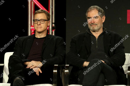 "Alan Tudyk, Timothy Dalton. Alan Tudyk, left, and Timothy Dalton participate in the ""DC Universal - Doom Patrol"" panel during the Warner Bros presentation at the Television Critics Association Winter Press Tour at The Langham Huntington, in Pasadena, Calif"
