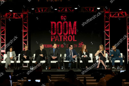 "Diane Guerrero, Alan Tudyk, Timothy Dalton, Brendan Fraser, Jeremy Carver, Sarah Schechter, April Bowlby, Joivan Wade. Diane Guerrero, from left, Alan Tudyk, Timothy Dalton, Brendan Fraser, Jeremy Carver, Sarah Schechter, April Bowlby and Joivan Wade participate in the ""DC Universal - Doom Patrol"" panel during the Warner Bros presentation at the Television Critics Association Winter Press Tour at The Langham Huntington, in Pasadena, Calif"