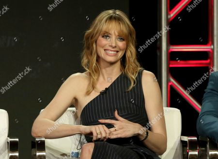 """Stock Photo of April Bowlby participates in the """"DC Universal - Doom Patrol"""" panel during the Warner Bros presentation at the Television Critics Association Winter Press Tour at The Langham Huntington, in Pasadena, Calif"""