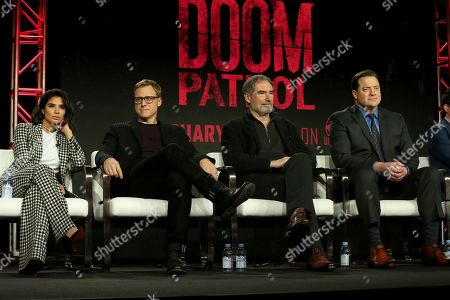 "Diane Guerrero,Alan Tudyk, Timothy Dalton, Brendan Fraser. Diane Guerrero, from left, Alan Tudyk, Timothy Dalton and Brendan Fraser participate in the ""DC Universal - Doom Patrol"" panel during the Warner Bros presentation at the Television Critics Association Winter Press Tour at The Langham Huntington, in Pasadena, Calif"