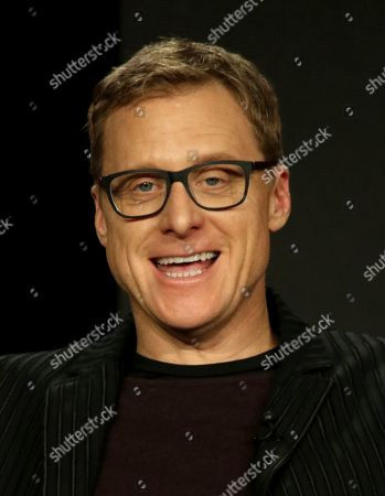 "Alan Tudyk participates in the ""DC Universal - Doom Patrol"" panel during the Warner Bros presentation at the Television Critics Association Winter Press Tour at The Langham Huntington, in Pasadena, Calif"