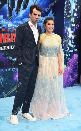 """Jay Baruchel, America Ferrera. Cast members Jay Baruchel, left, and America Ferrera attend the premiere of """"How to Train Your Dragon: The Hidden World"""" at the Regency Village Theatre, in Los Angeles"""