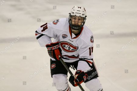 Stock Image of St. Cloud State's Patrick Newell against Colorado College during an NCAA hockey game on in St. Cloud, Minn