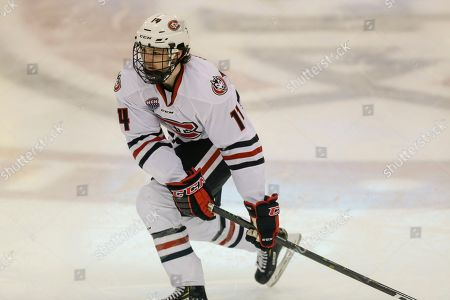 Stock Photo of St. Cloud State's Patrick Newell against Colorado College during an NCAA hockey game on in St. Cloud, Minn