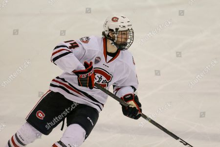 St. Cloud State's Patrick Newell against Colorado College during an NCAA hockey game on in St. Cloud, Minn