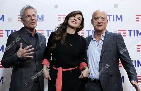 Italian singer and Sanremo Festival artistic director Claudio Baglioni (L), Italian actress Virginia Raffaele (C) and Italian actor Claudio Bisio (R) pose for the media prior to the final press conference of the 69th Sanremo Italian Song Festival, in Sanremo, Italy, 10 February 2019. The festival was running from 05 to late 09 February 2019 evening.