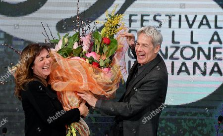 Italian singer and Sanremo Festival artistic director Claudio Baglioni (R) and Rai1 TV director Teresa de Santis (L) attend the final press conference of the 69th Sanremo Italian Song Festival, in Sanremo, Italy, 10 February 2019. The festival was running from 05 to late 09 February 2019 evening.