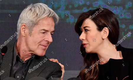Italian singer and Sanremo Festival artistic director Claudio Baglioni (L) and Italian actress Virginia Raffaele (R) attend the final press conference of the 69th Sanremo Italian Song Festival, in Sanremo, Italy, 10 February 2019. The festival was running from 05 to late 09 February 2019 evening.