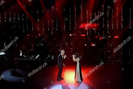Italian singer and Sanremo Festival artistic director Claudio Baglioni (L) and Italian singer Elisa (R) perform on stage at the Ariston theatre during the 69th Sanremo Italian Song Festival, Sanremo, Italy, 09 February 2019. The Festival runs from 05 to 09 February.