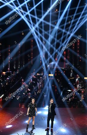 Federica Carta (L) and Shade (R) perform on stage at the Ariston theatre during the 69th Sanremo Italian Song Festival, Sanremo, Italy, 09 February 2019. The festival runs from 05 to 09 February.
